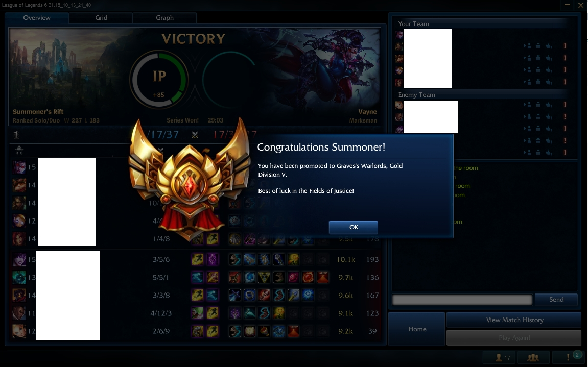 LoL rank up service from Bronze 2 to Gold 5 by Remember