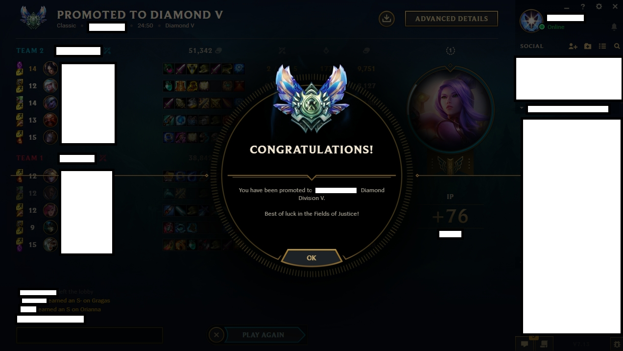 Elo boost example from Platinum 1 to Diamond 5 by Berciqux