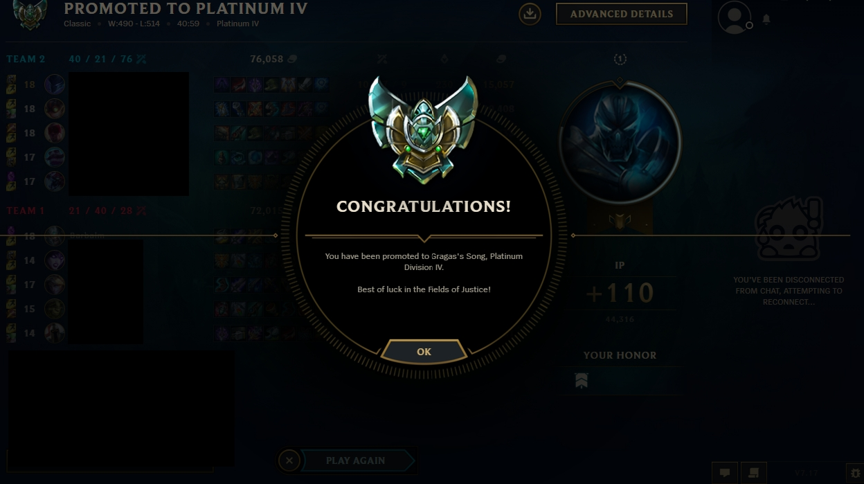 Elo boost season 5 from Platinum 5 to Platinum 4 by Winxton