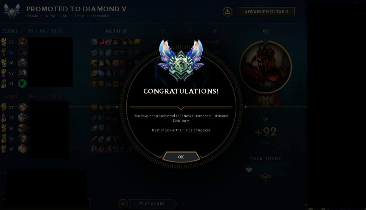 Elo boost result from Platinum 3 to Diamond 5 by Winxton