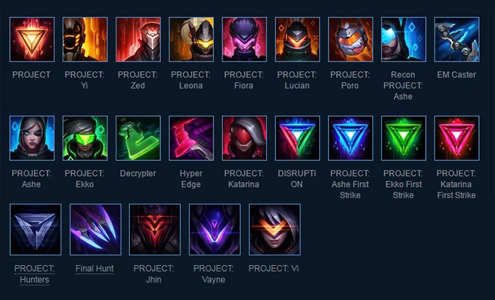 Project Skins In Lol Full List With Prices Video Spotlights And