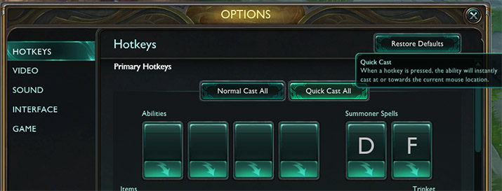 Enable quick cast in League of Legends